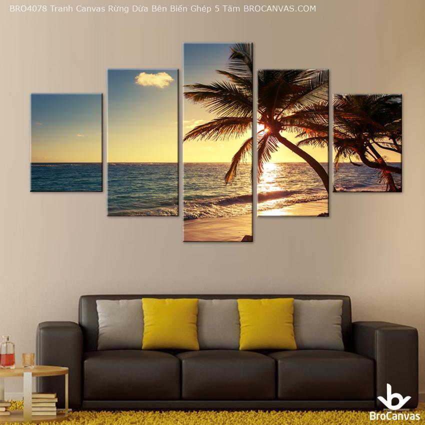 tranh canvas phong cảnh rừng dừa bên biển 5 tấm