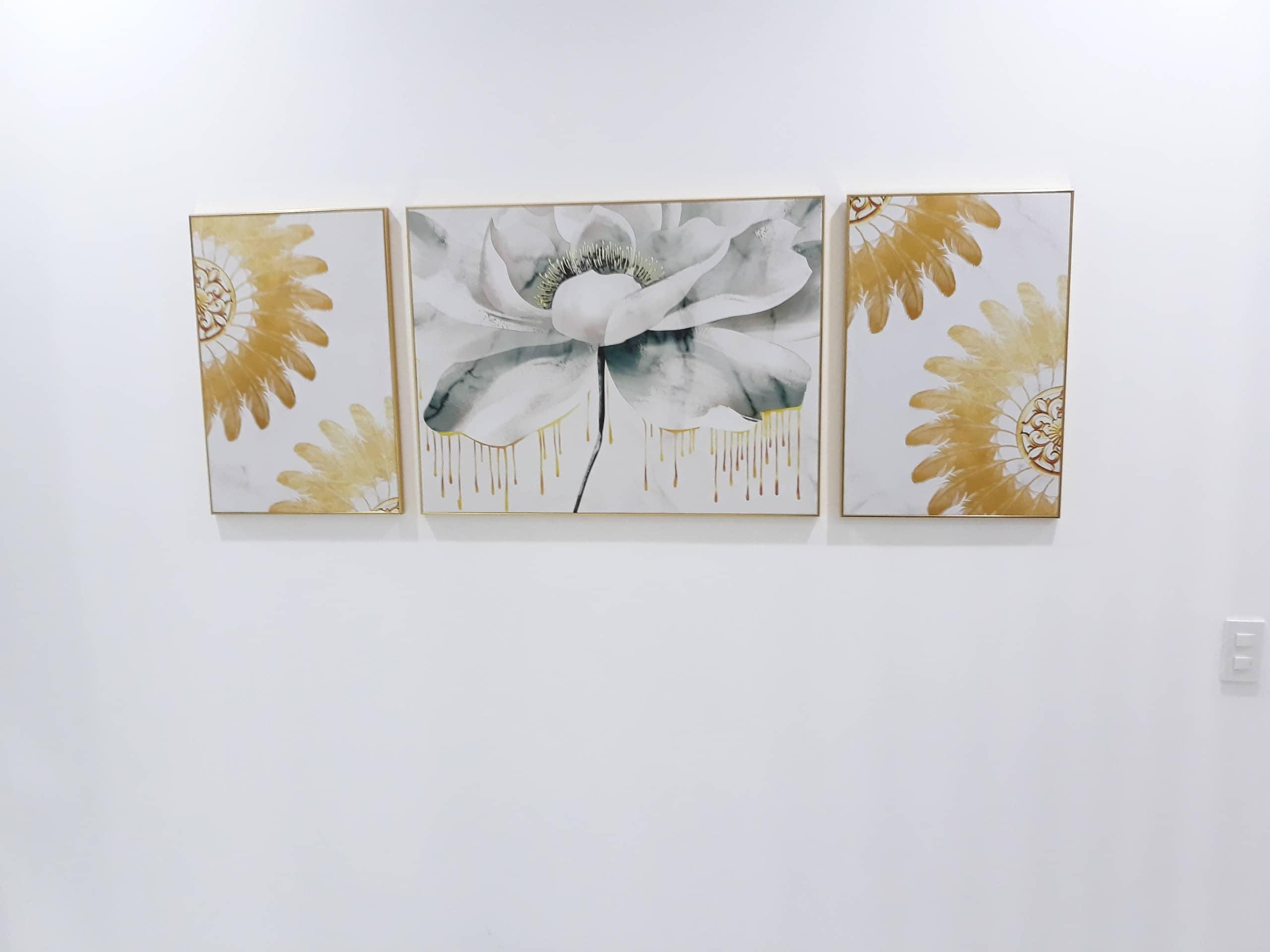 tranh canvas bông hoa nhũ vàng kim