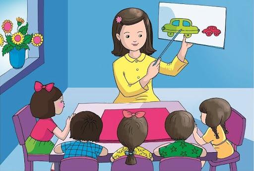 Vẽ tranh cô giáo giảng bài