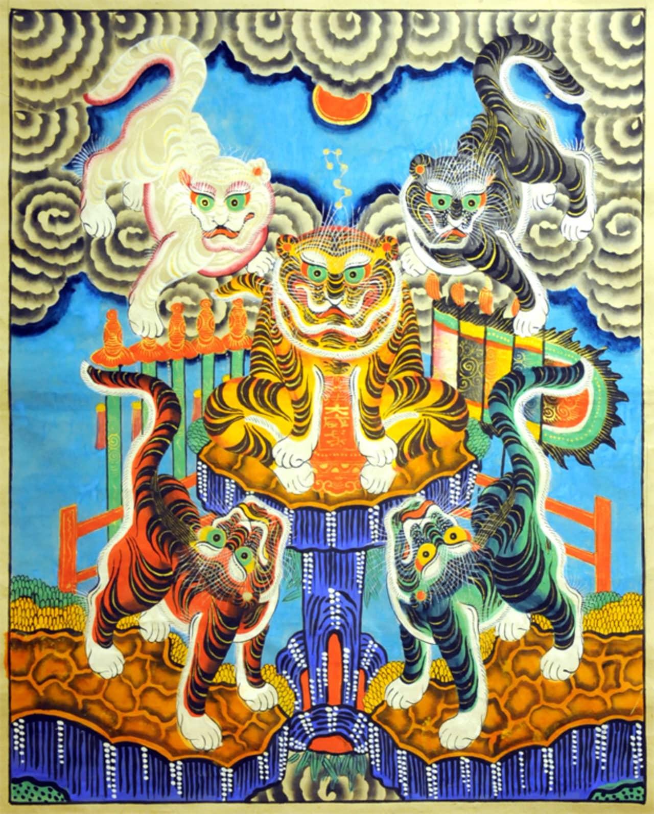 Bức tranh Ngũ Hổ đặc trưng của tranh Hàng Trống