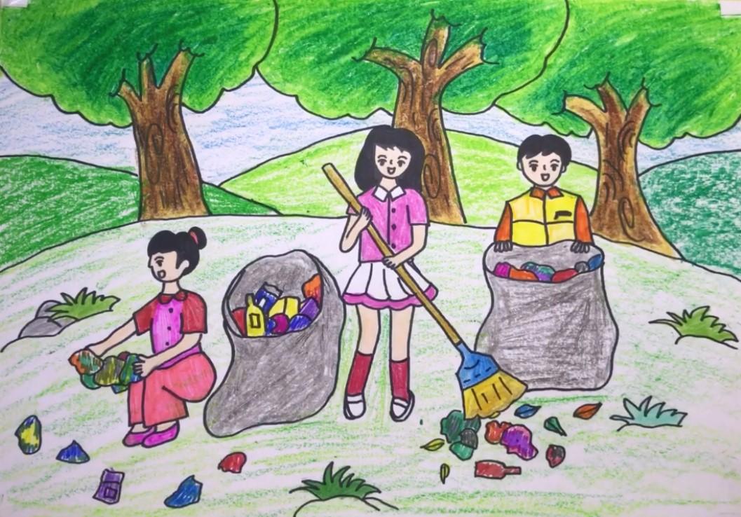 Bức tranh kêu gọi bảo vệ môi trường, không xả rác bừa bãi