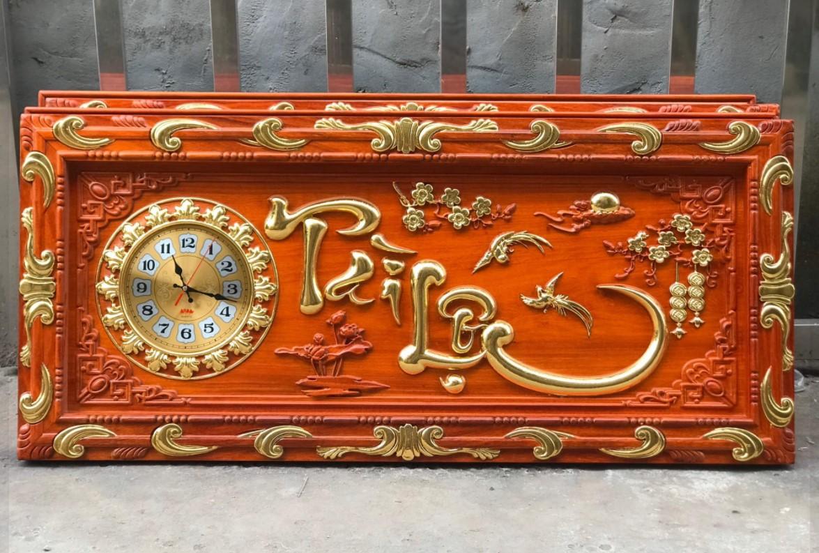Tranh khắc nhũ vàng Đồng Hồ