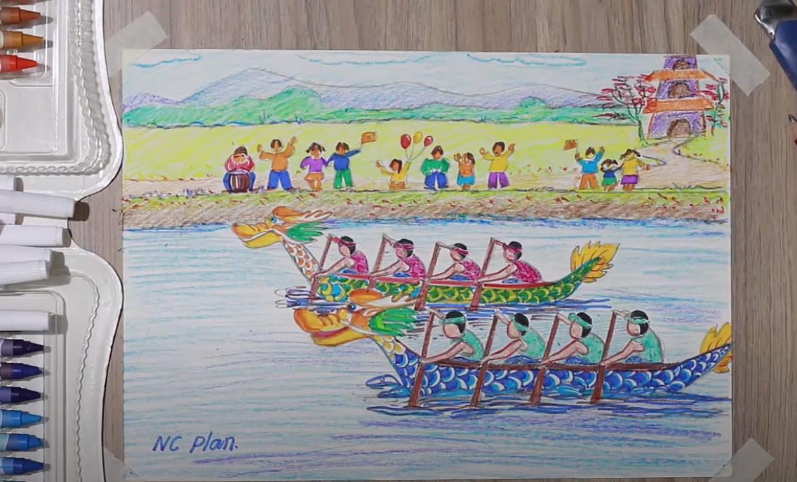 Tranh Lễ Hội Chèo Thuyền
