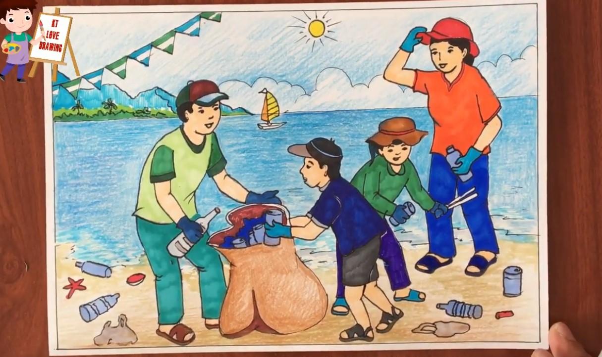 Tranh nhặt rác của các em học sinh