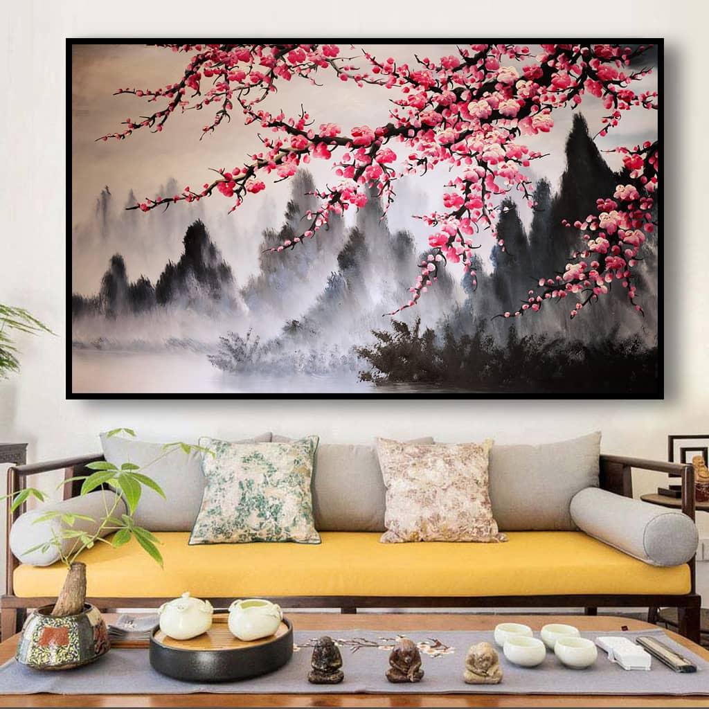 Những bức tranh Sơn Thủy phù hợp cho không gian tiếp khách của Công ty