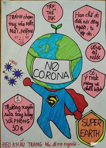 Vẽ tranh anime truyên truyền phòng chống dịch bệnh Covid-19 của các em học sinh