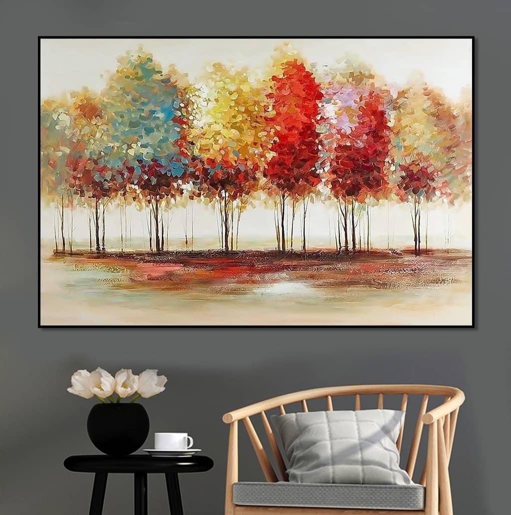 Tranh rừng cây mùa thu thay sắc lá