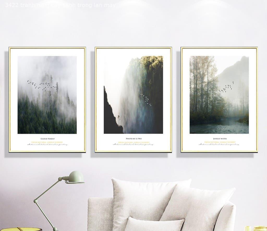 Tranh Rừng Cây Xanh Trong Làn Mây