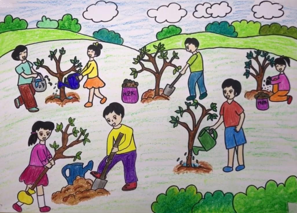 Bức tranh trồng cây gây rừng góp phần bảo vệ môi trường