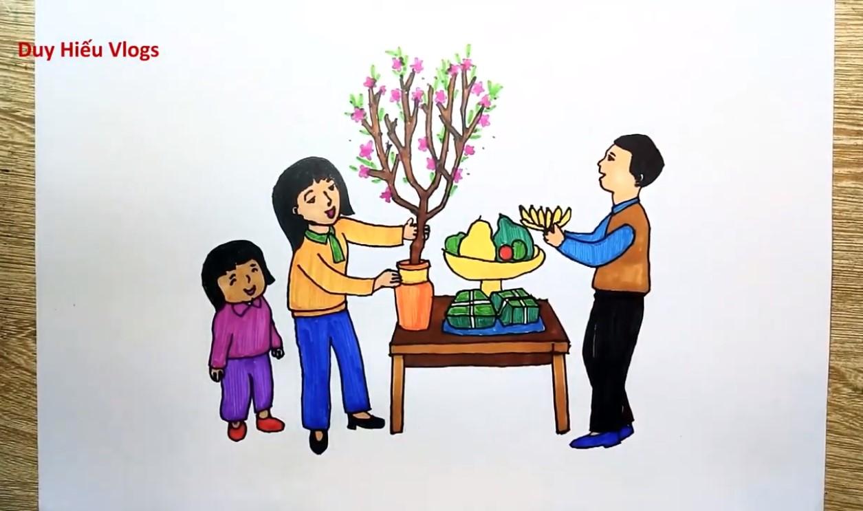 Vẽ tranh đề tài mâm ngũ quả thể hiện sự biết ơn, gợi nhớ tới tổ tiên