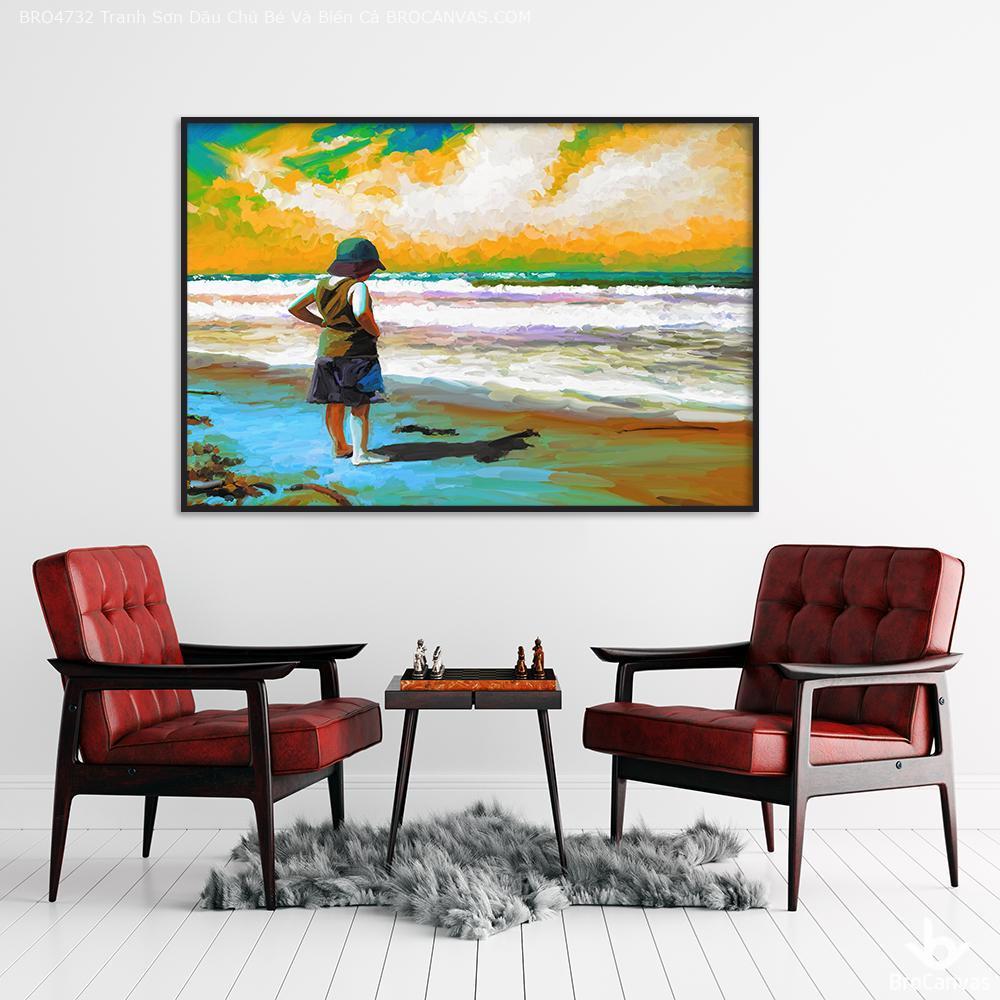 tranh sơn dầu cậu bé và biển cả