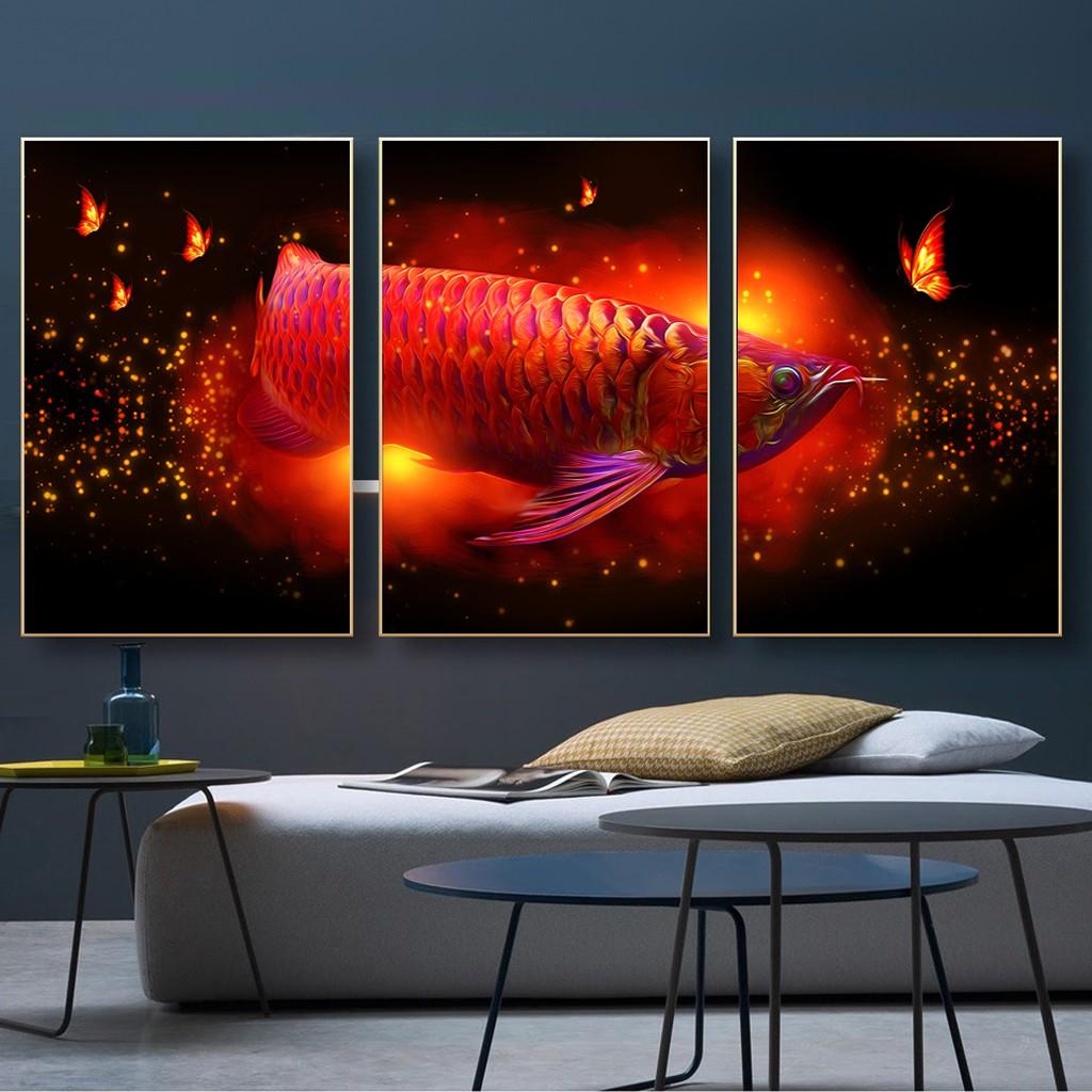 Bộ Ba Tranh 3D cá Rồng Đỏ
