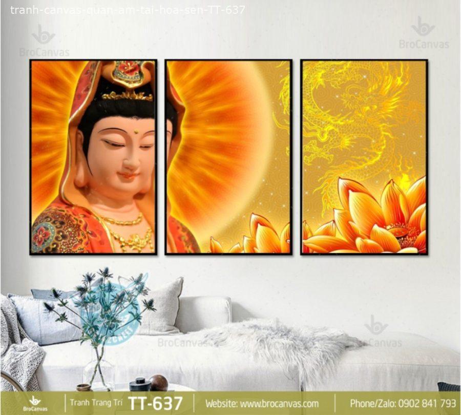 Tranh Canvas Quan Âm Tại Hoa Sen TT 637 | Brocanvas.com
