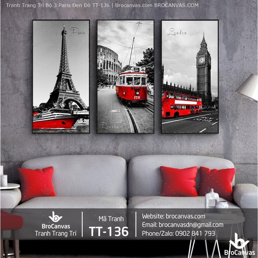 Tranh Trang Trí Bộ 3 Paris Đen Đỏ TT-136 | Brocanvas.com