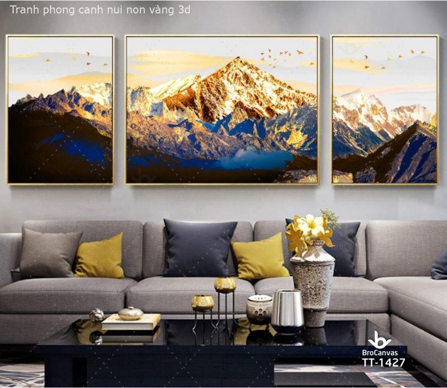 Tranh phong cảnh núi nhũ vàng kim