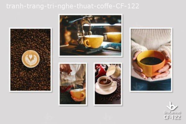 """Tranh Canvas Cafe: """"Nghệ Thuật Cafe Nâu Trong Phố Đêm"""" CF-122.."""