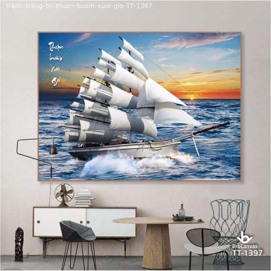 Tranh treo tường thuyền buồm phù hợp cho người mệnh Thủy