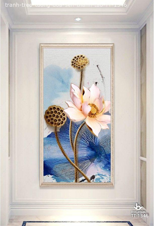 Tranh vải treo tường hình hoa sen thanh khiết