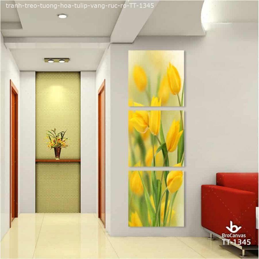 """Tranh vải treo tường hình """"Hoa tulip vàng"""""""