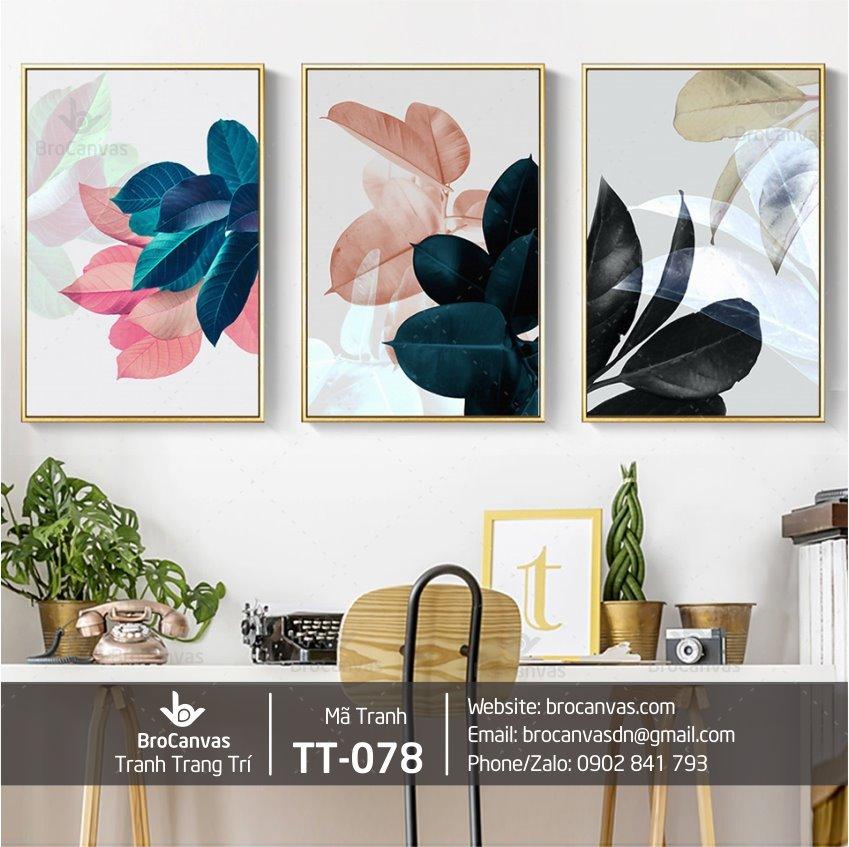 Tranh Trang Trí Bộ 3 Lá Nghệ Thuật TT-078 | Brocanvs.com