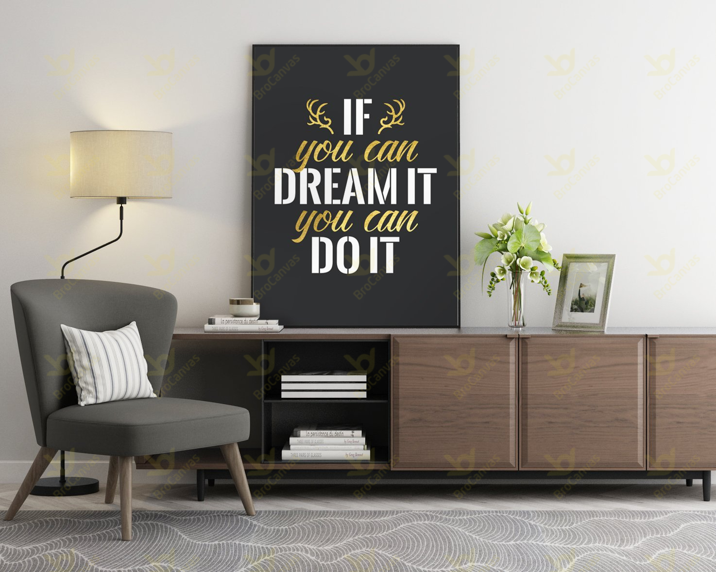 VPH5408 Tranh Slogan If You Can Dream It You Can Do It