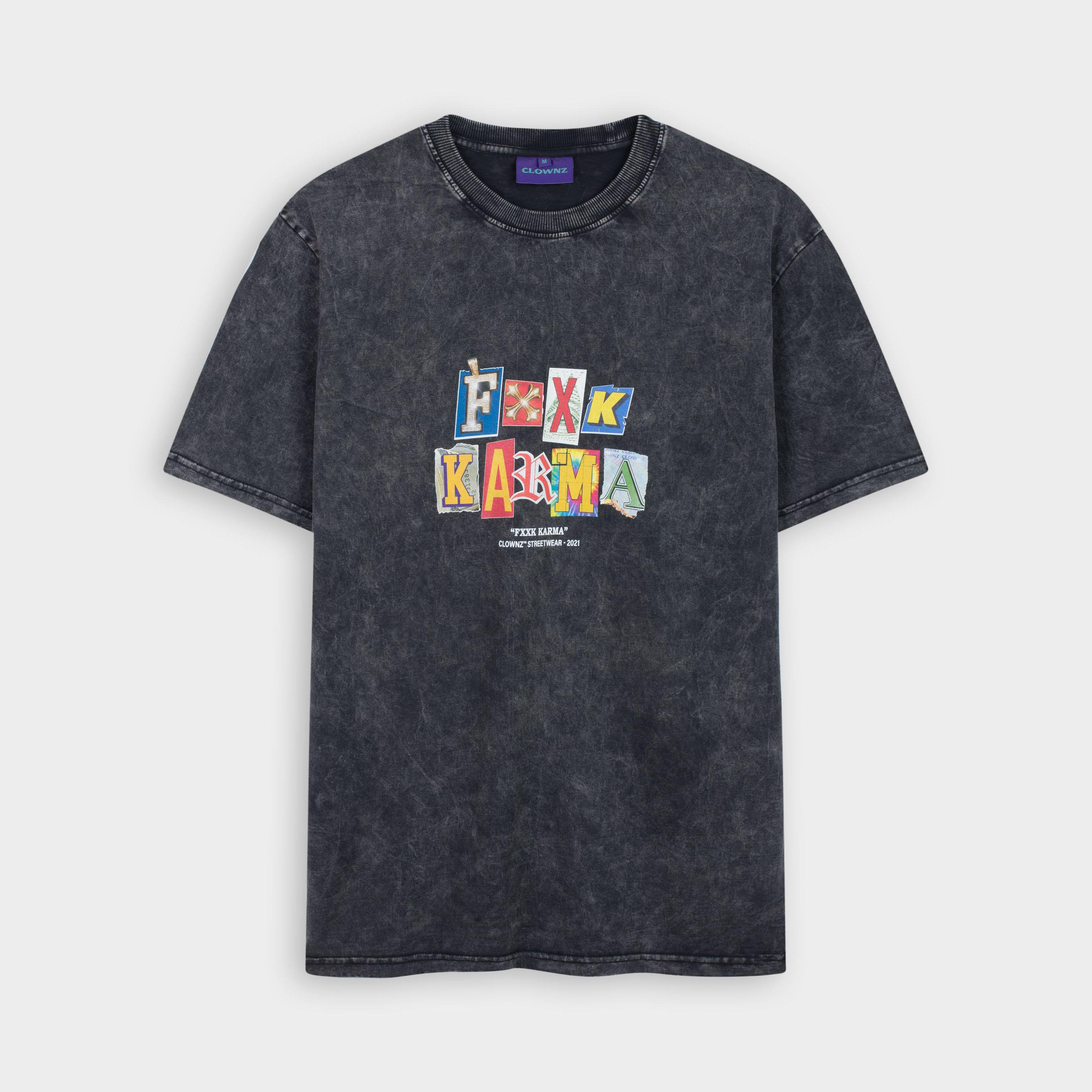 ClownZ Fxxk Karma Acid Washed T-shirt