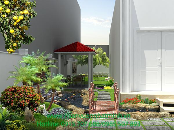 Thiết kế, thi công sân vườn, hồ cá nhà anh Hải - Nam Định