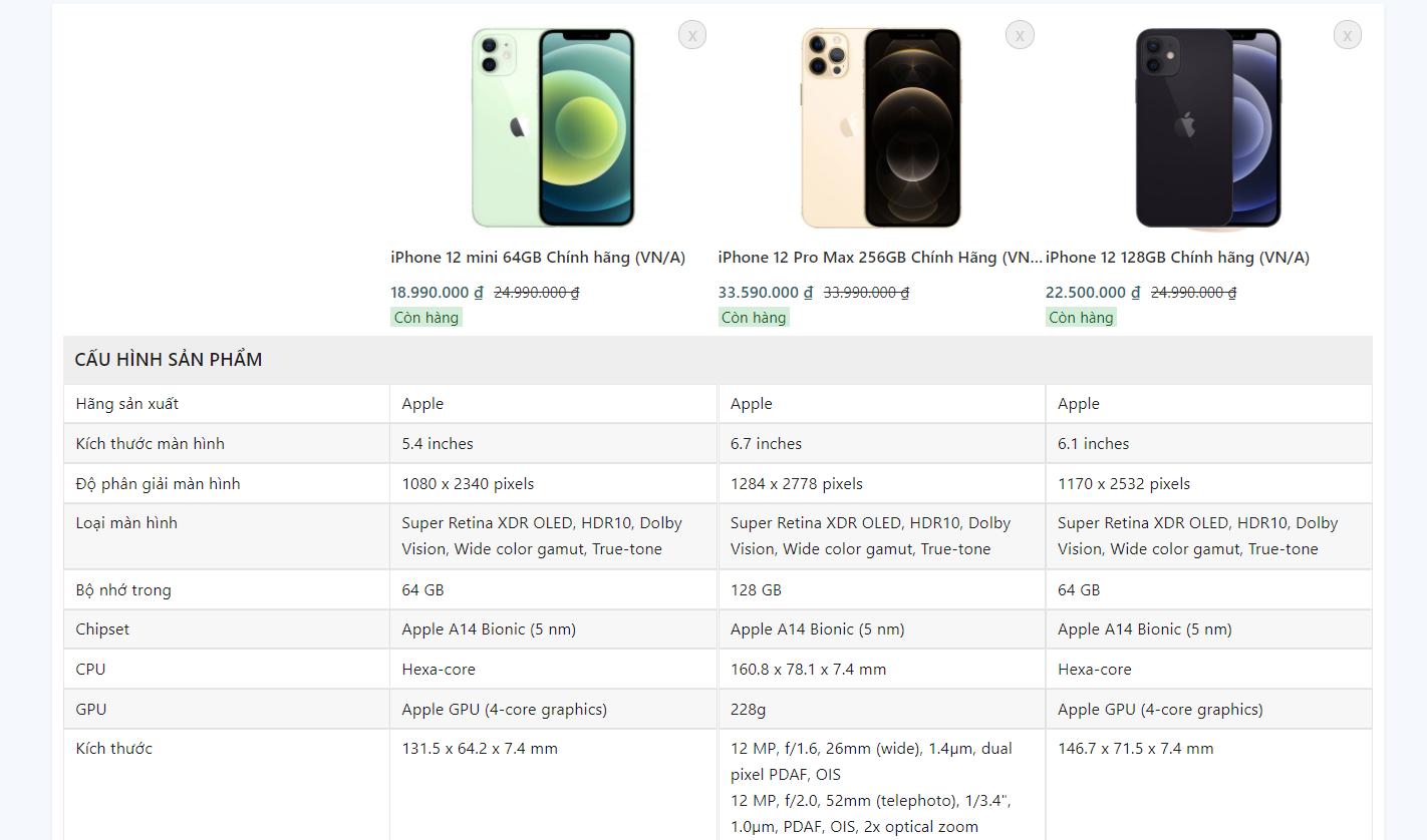 Evo Mobile So sánh sản phẩm