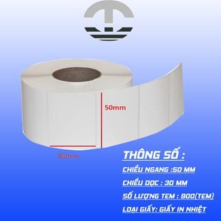 Giấy Decal nhiệt in mã vạch cỡ 50x30mmx30m