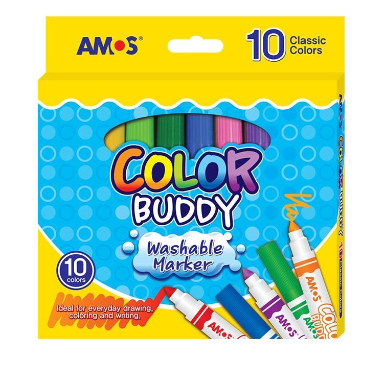 Bộ Bút Dạ 10 Màu Loại Ngắn Amos Color Buddy Medium Cm10P-M