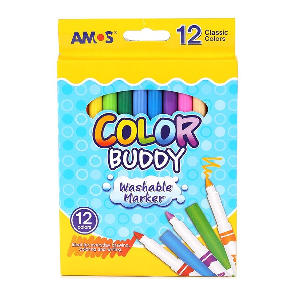 Bộ Bút Dạ 12 Màu Loại Dài Amos Color Buddy Long Cm12P-L