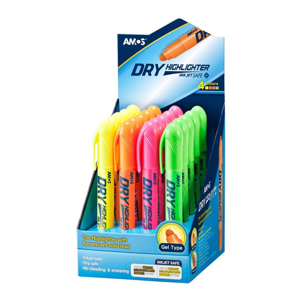 Hộp 20 Bút Nhớ Dòng Amos Dry Highlighter-HLD20DP