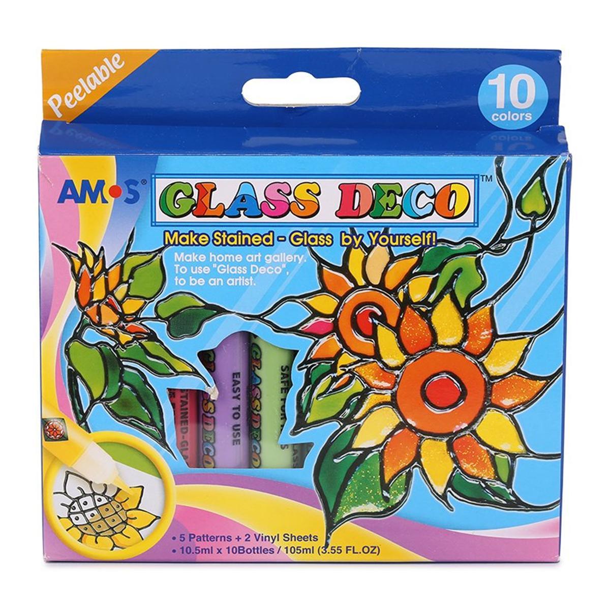 Bộ Bút Vẽ Lên Kính Amos Glass Deco, Vỉ 10 Màu X 0.5Ml Gd10P10