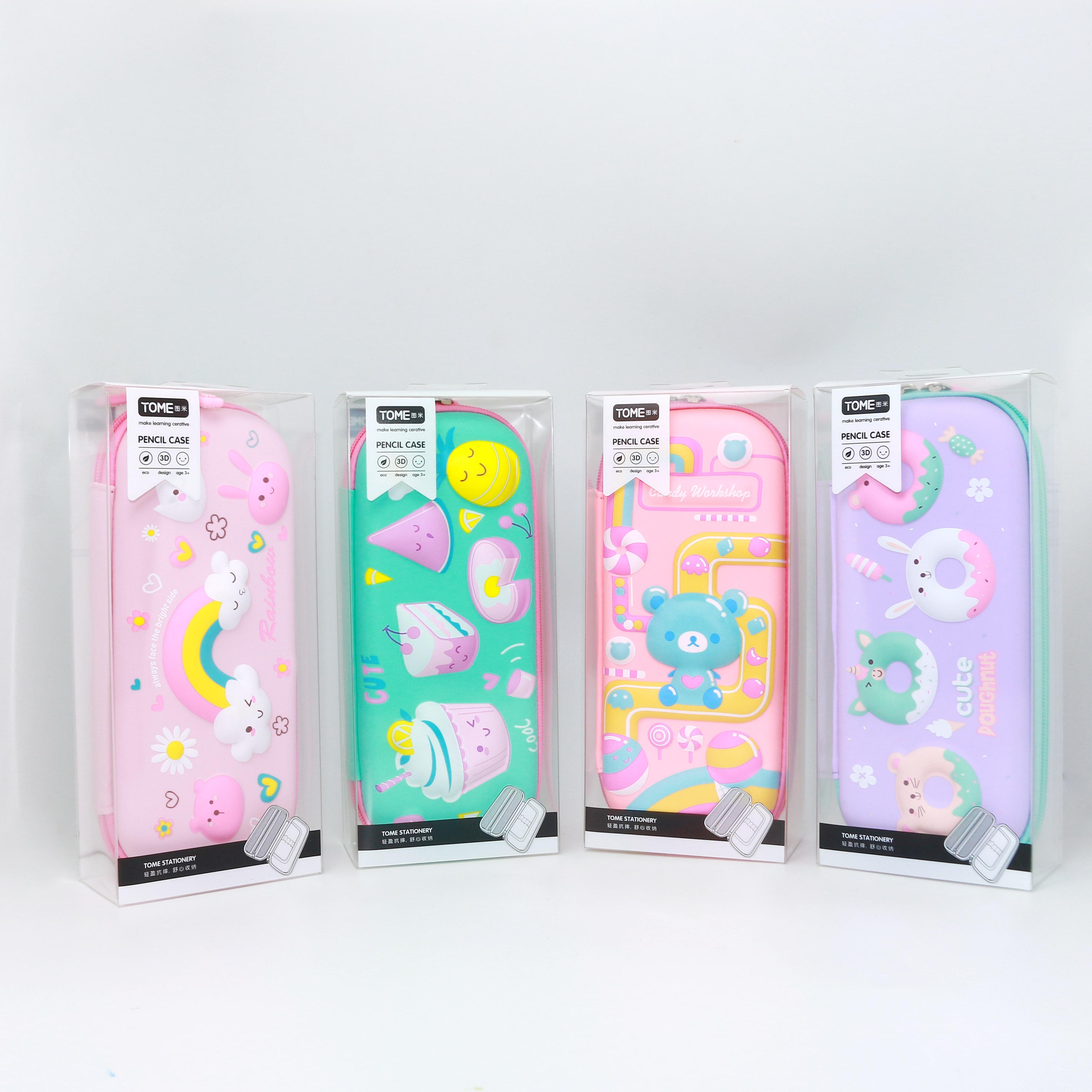 Hộp bút 3D hình cầu vồng, cute Doughnut, kem, gấu TM-G66137