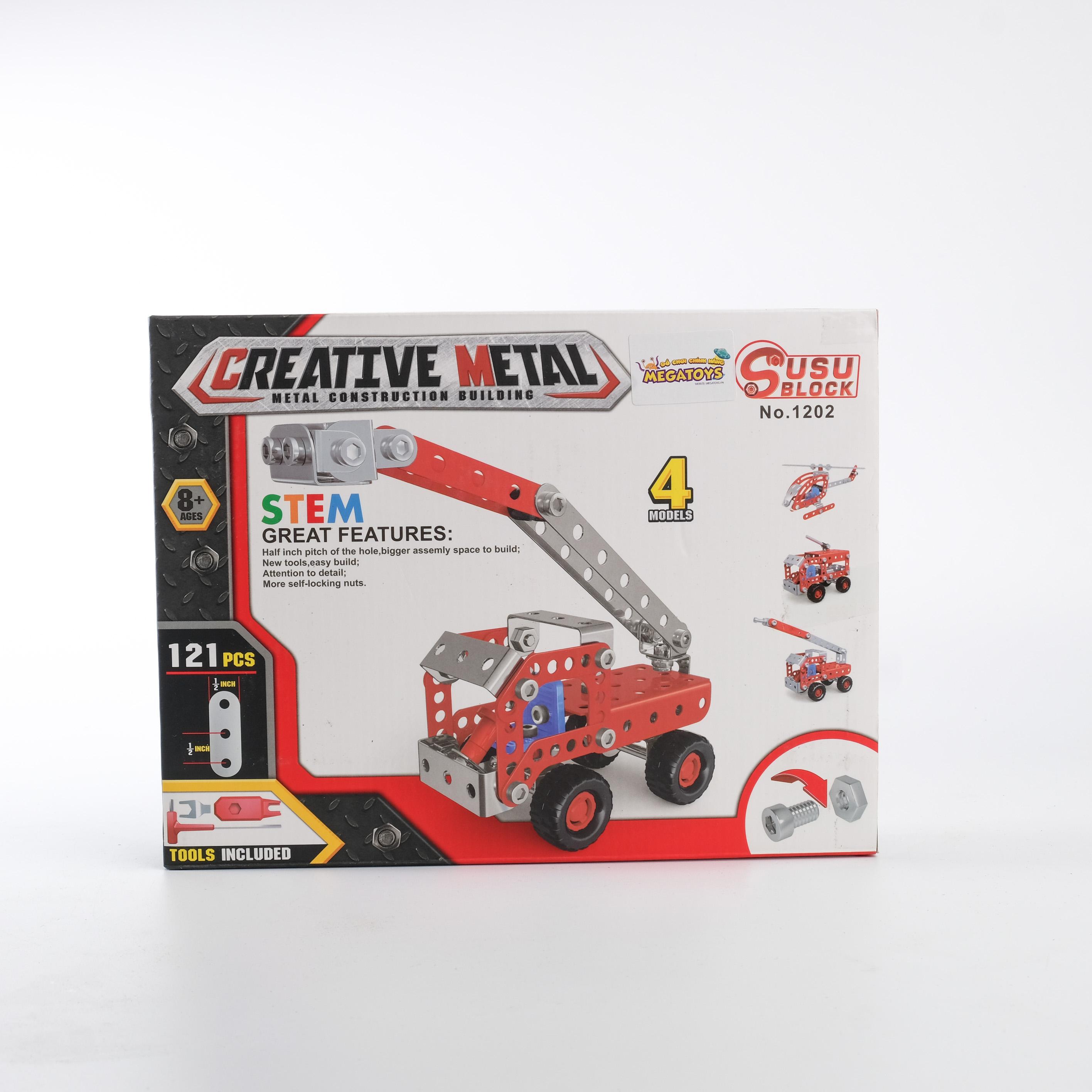 Đồ chơi giáo dục STEM - Metal bricks 4in1 - 4 Phương tiện biến hình cứu hỏa siêu bền XCH-1202