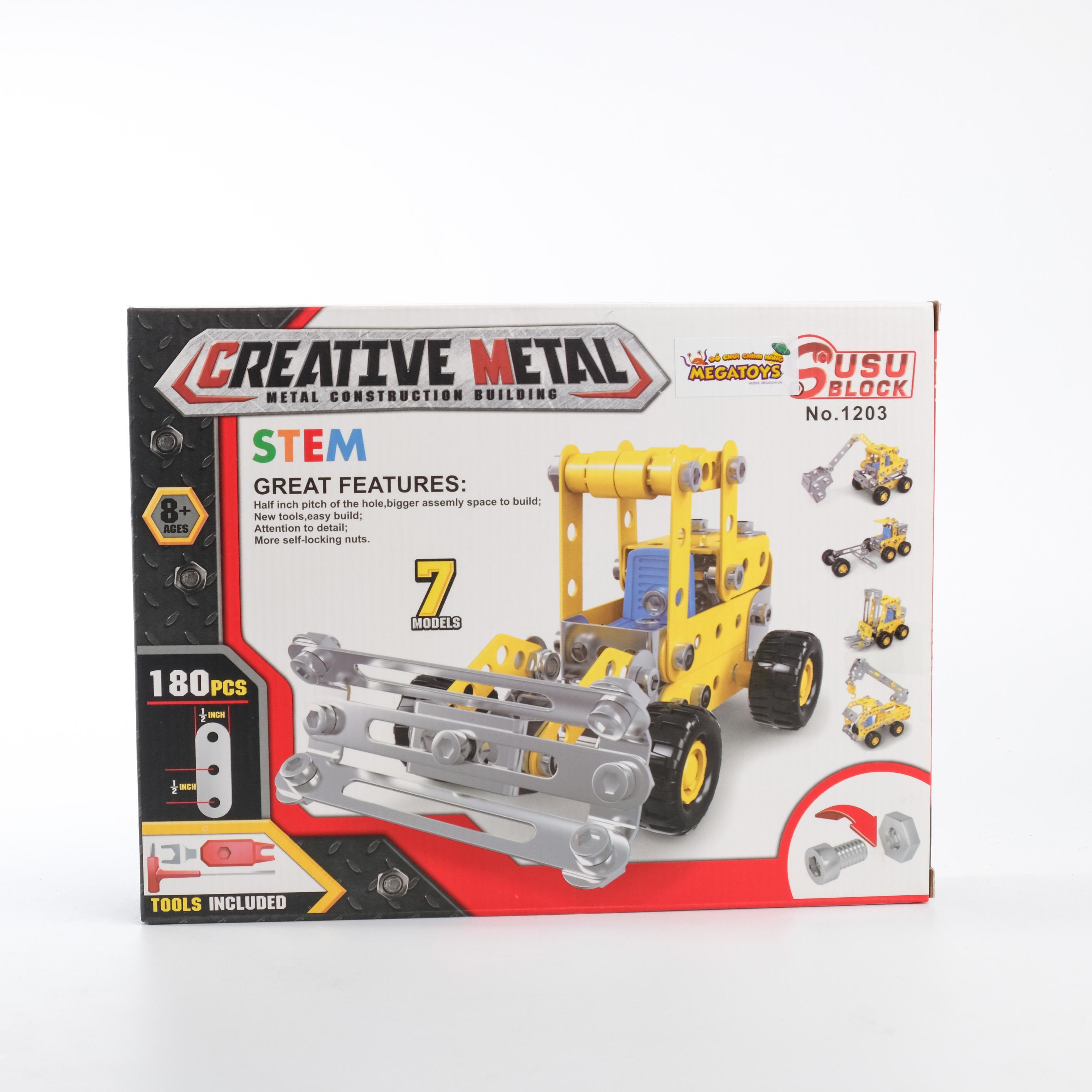 Đồ chơi giáo dục STEM - Metal bricks 7in1 - 7 Xe công trình biến hình siêu bền XCT-1203
