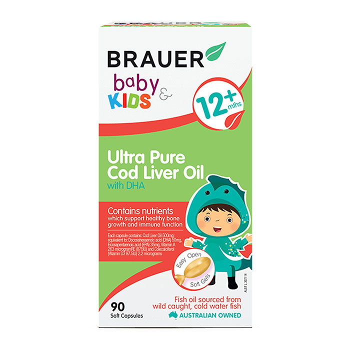 Brauer Baby and Kids Ultra Pure Cod Liver Oil With DHA - Viên bổ sung DHA