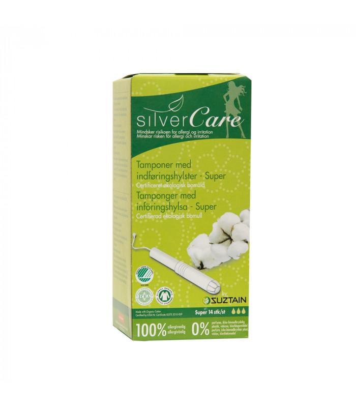 Tampon hữu cơ 3 giọt có cần đẩy Silvercare 14M Tây Ban Nha