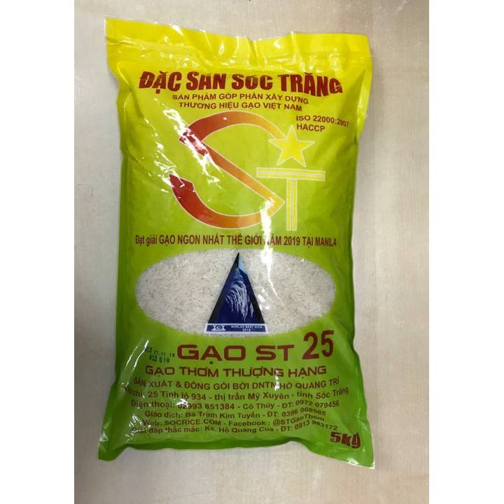 Gạo thơm ST 25 thượng hạng 5kg
