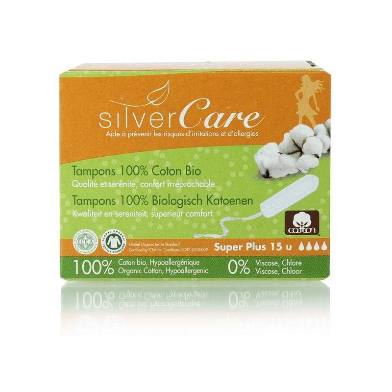 Tampon hữu cơ 4 giọt Silvercare Super Plus 15M Tây Ban Nha