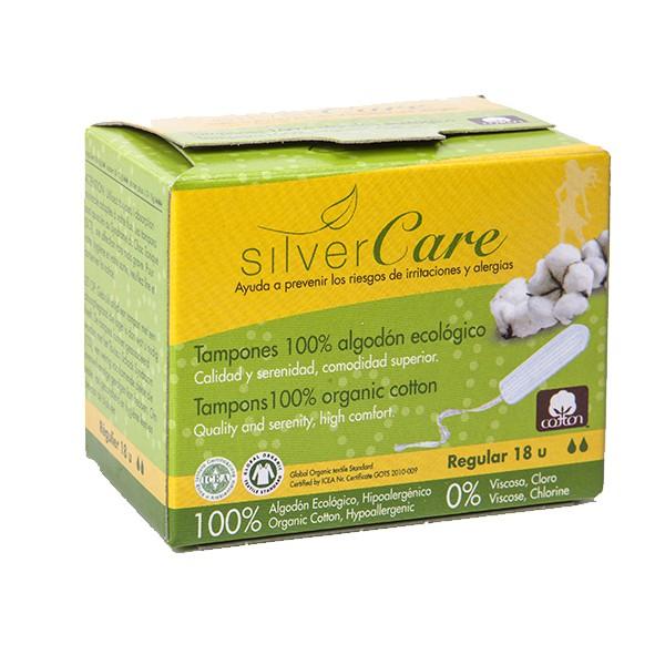 Tampon hữu cơ 2 giọt Silvercare Regular 18M Tây Ban Nha
