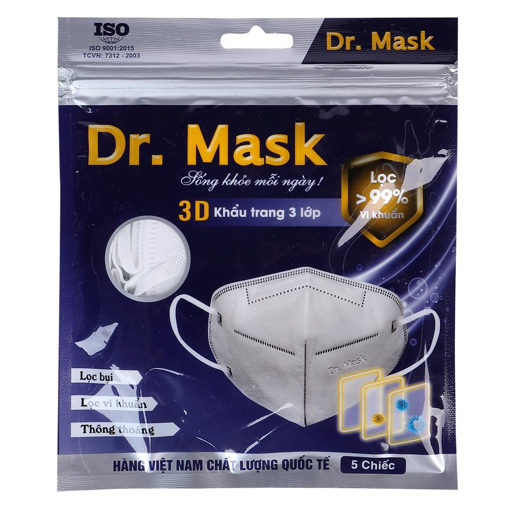 Túi 5 khẩu trang Dr. Mask 3 lớp 3D S1