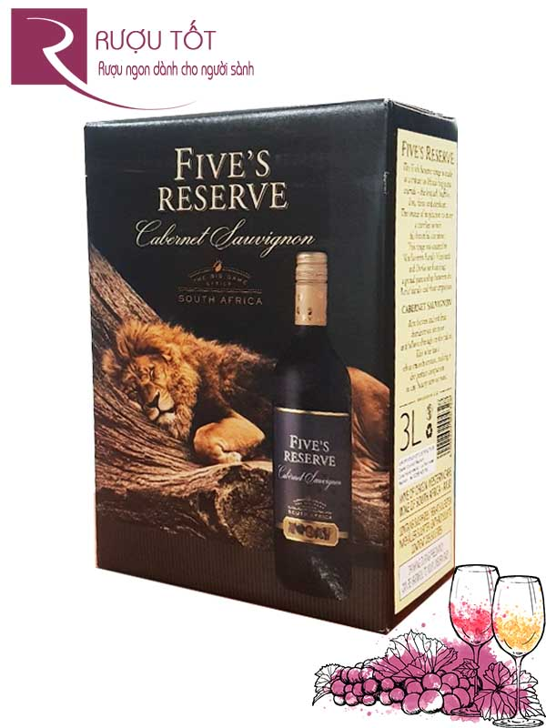 Rượu vang bịch Five's Reserve 14% 3L Nam Phi