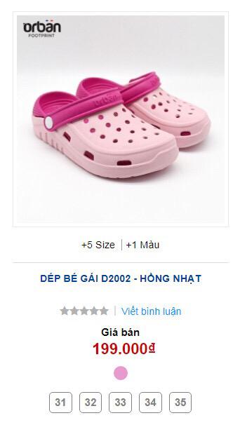 Dép Crocs Orban trẻ em D2002 hồng nhạt 5 size 31-35