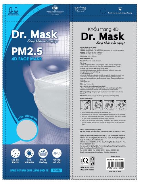 Túi 3 khẩu trang Dr. Mask 4 lớp có van thở 4D S2