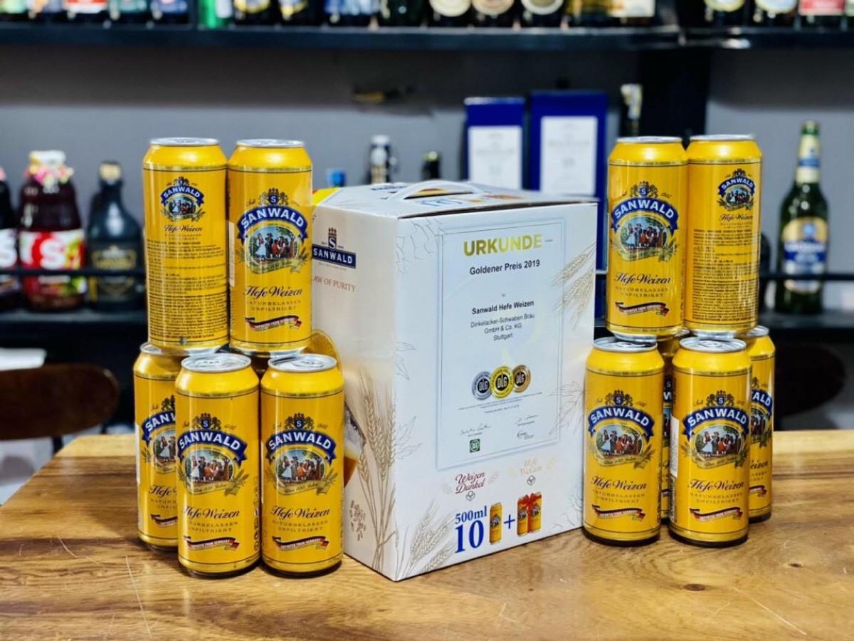 Hộp quà 12 chai bia vàng Sanwald Hefe Weizen Đức 4,9%vol 500ml