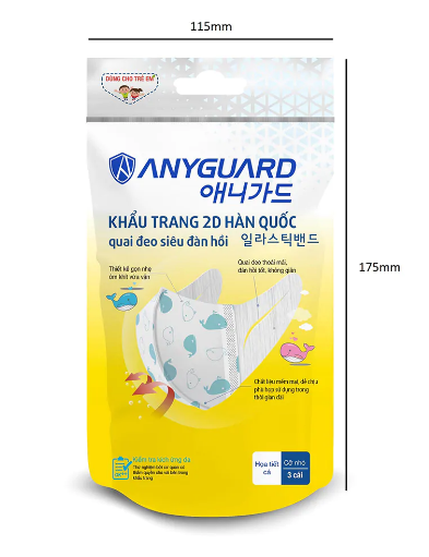 Túi 3 khẩu trang trẻ em 2D Anyguard