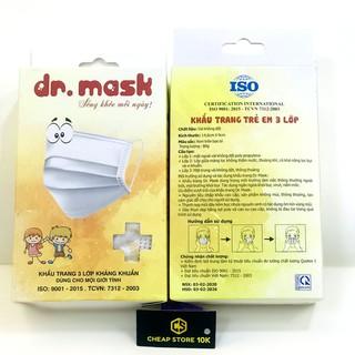 Hộp 20 khẩu trang trẻ em Dr. Mask 3 lớp KTKIDS