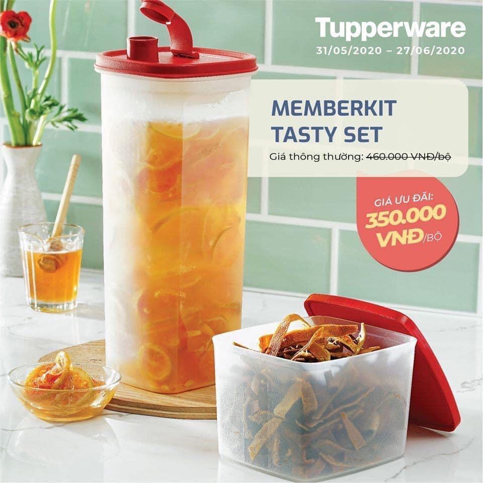 Bộ bình & hộp nhựa Tupperware Tasty Set ( tặng 1 hộp Snack Cup)