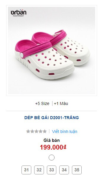 Dép Crocs Orban trẻ em D2002 trắng quai hồng 5 size 31-35